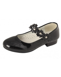 Lakierowane balerinki dziewczęce 27-32 BA12 czarny