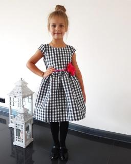 Szkolna sukienka 62-140 Brygida 3 czarny plus biały