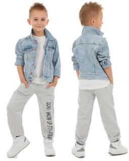 Dresowe spodnie chłopiece 116-158 KRP61 Szary