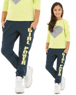 Dresowe spodnie dziewczęce 116-158 KRP62 Niebieski