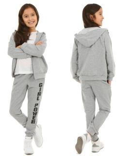Wygodne spodnie dziewczęce 116-158 KRP62 Szary