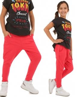 Sportowe spodnie dla dziewczynki 116-158 KRP63 Koral