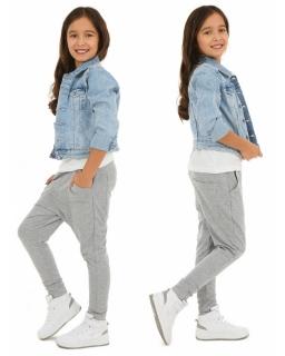 Dresowe spodnie dla dziewczynki 116-158 KRP63 Szary