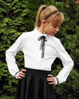 Bluzka z koronkową krawatką 128-158 Justyna biel