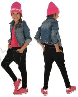 Dresowe spodnie baggy 116-158 KRP63 Czarny