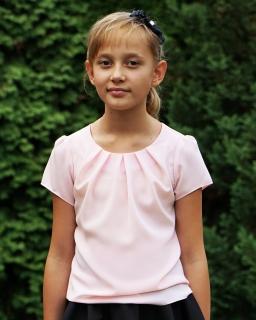 Modna bluzka dla dziewczynki 116 - 170 Lili pudrowy róż