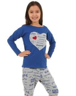Bluza z sercem 116 - 158 KRP67 niebieska