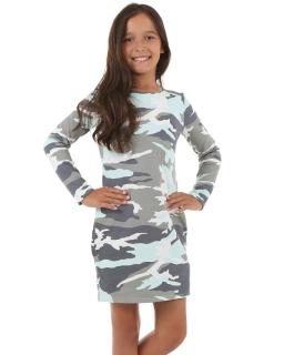 Sukienka moro z długim rękawem 116-158 KRP71 Szary plus mięta