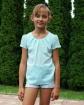 Bluzka dla dziewczynki z marszczeniem 116 - 170 Lili turkus