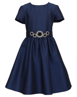 Okolicznościowa sukienka z paskiem 128-158 19/JSN granat