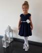 Sukienka z białym paskiem i kwiatkiem 62 - 152 Samanta granat