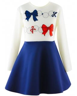 Śliczna sukienka dziewczęca 116-152 Sweet ecru plus granat
