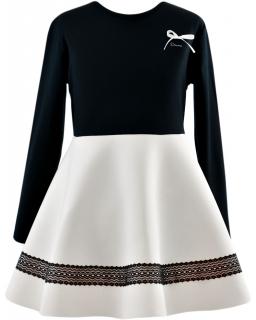 Rozłożysta elegancka sukienka 116-152 Marcelina czerń plus ecru