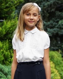 Elegancka biała bluzka z kołnierzykiem 122-164 Rita biel