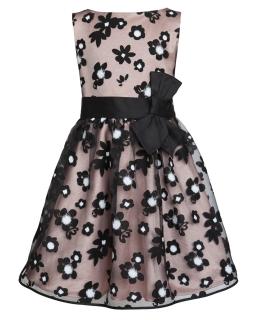 Dziewczęca sukienka galowa 128-158 17/JSN czarny plus róż