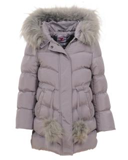 Pikowana kurtka zimowa dla dziewczynki 104-110 GMA-4433 szary