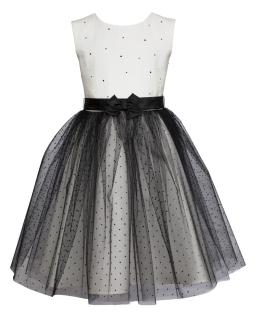Piękna sukienka wizytowa 128-158 32/JSN ecru plus czerń