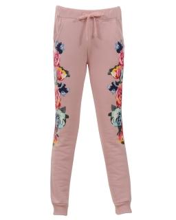 Dresowe spodnie w kwiaty 152-164 GRT-4901 Róż