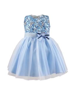 Sukienka w niebieskie kwiatuszki 86-104 Alusia niebieski