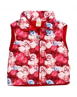 Kamizelka dla dziewczynki z nadrukiem róże 9-15 miesięcy Basia