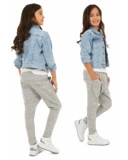 Melanżowe spodnie z obniżonym krokiem 116-158 KR24 Szare