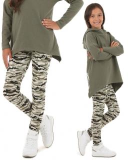 Legginsy dla modnej dziewczyny 116-158 KRP86 moro khaki