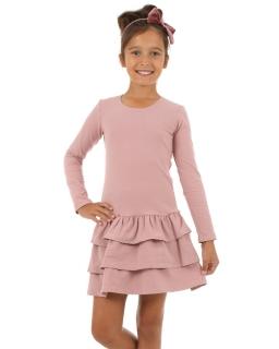 Sukienka z falbankami 116-158 KRP04 Pudrowy róż