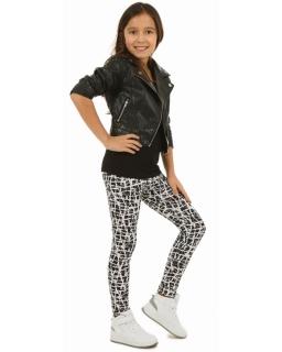 Długie legginsy w modny nadruk 116-158 KRP92 czarny plus biały