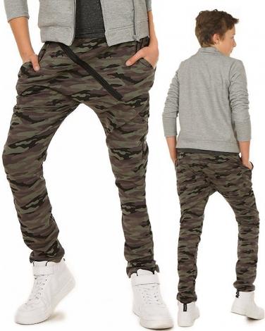 Spodnie baggy z zamkiem 116-158 KRP93 Moro