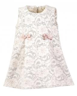 Trapezowa sukienka w kwiatki 104-128 Julka szary plus róż