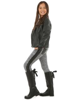 Ciepłe spodnie ze skórzanymi wstawkami 116 - 158 lgg09 czarno-białe
