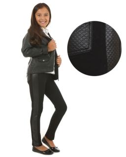 Ciepłe legginsy ze skórzaną wstawką 116-158 KR19 czarne