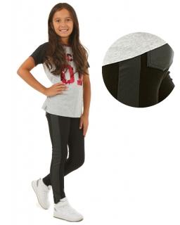 Ocieplane modne legginsy 116-158 KR19 czarne