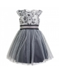 Wizytowa sukienka z tiulem 104 - 134 Emma srebrna