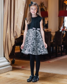 Elegancka sukienka dziewczęca 122 - 146 Sabrina czarny plus szary