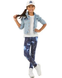 Wzorzyste getry dziewczęce 116-158 KRP98 niebieski
