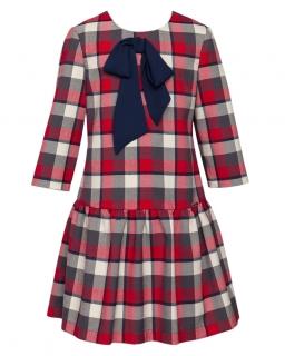 Modna sukienka w kratkę z falbanką 128-152 27/JSN czerwony