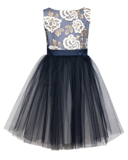 Elegancka sukienka z haftowaną górą 134-158 2B/JSN granat