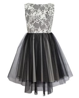 Wizytowa sukienka z dłuższym tyłem 134-164 31/JSN czarny plus ecru