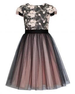 Sukienka ze zdobioną górą 128-158 11/JSN Czerń plus brzoskwinia