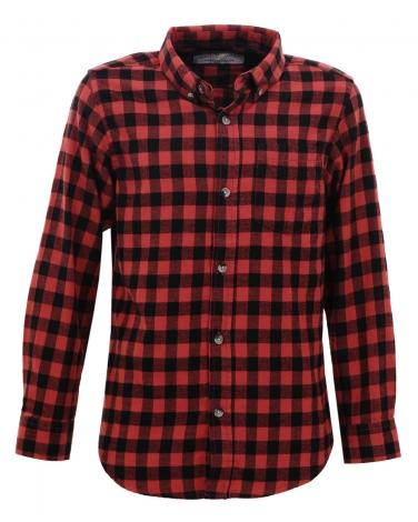 Chłopieca koszula w kratkę 134-164 BCS-4831 czarny plus czerwony