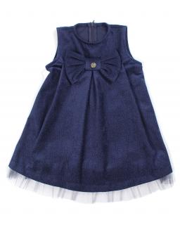 Trapezowa sukienka z weluru 86-116 Sylwia granat