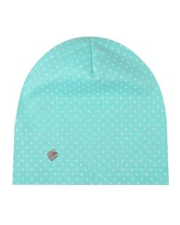 Lekka czapka w kropki dla dziewczynki 48-50 GBO-02 miętowy