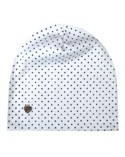 Klasyczna czapka w kropki 48-50 GBO-02 biały