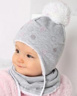 Komplet czapka plus chusta na szyję 46 AJS/34-301 szary