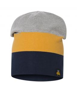Dwustronna czapka dla chłopca 53-55 BRL02 granat plus żółty
