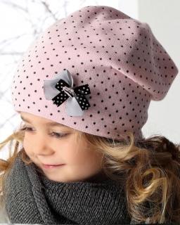 Dziewczęca czapka w kropeczki 52 AJS/34-354 jasny róż