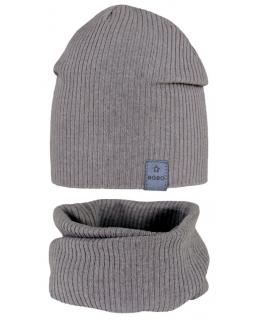 Cieńszy komplet chłopięcy czapka i komin 48-50 GBO-05 ciemny szary