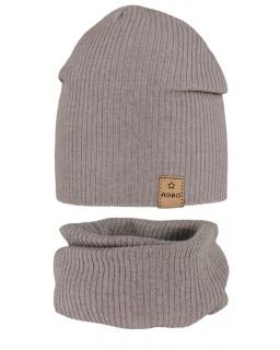 Cieńsza czapka i komin dla chłopaka 48-50 GBO-05 beż