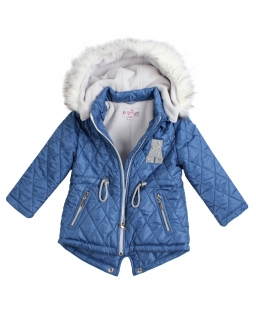 Pikowana kurtka dla dziewczynki 104-128 Pika niebieska